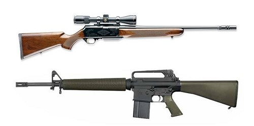 Q: Which is the hunting rifle and which is the assault weapon? A: Both are both, the only difference is cosmetic