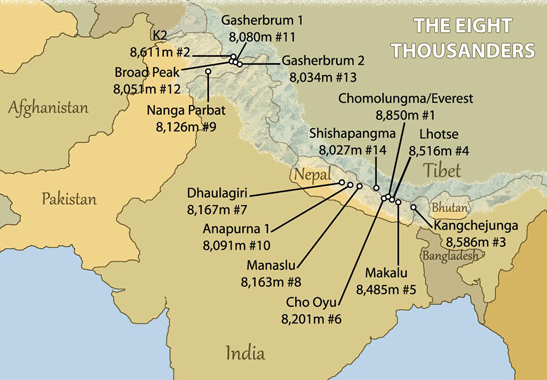 Map of Himalayas