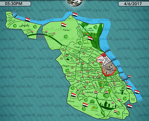Green=liberated; Orange=frontlines; White=ISIS control