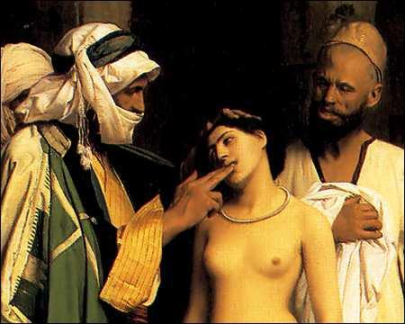 Checking a slave girl's teeth