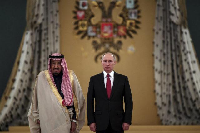 Saudi King Salman and Putin at the Kremlin