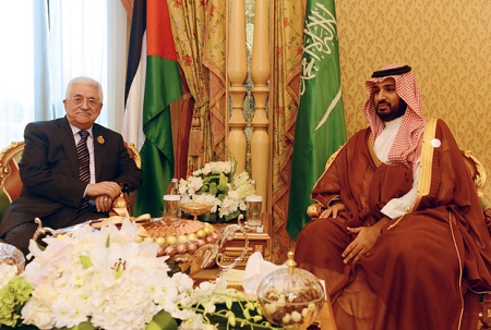 Mahmoud Abbas and Crown Prince Salman in Riyadh