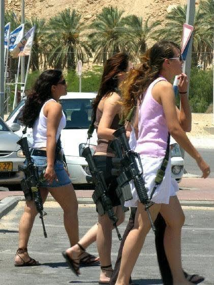 Israeli high school girls on their way to class