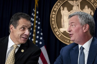 New York Gov. Cuomo and New York City Mayor De Blasio