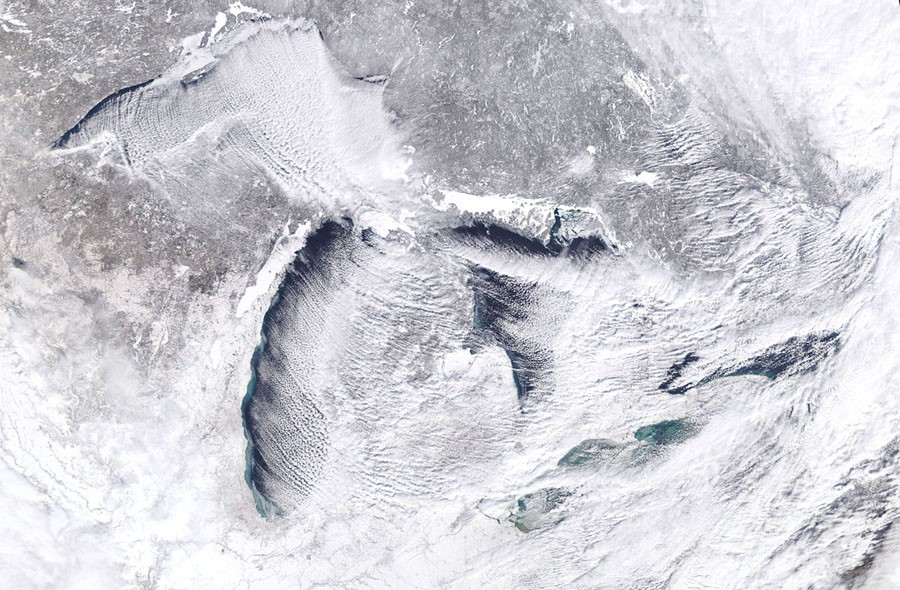 Natural color NASA Sat Photo of the Great Lakes January 27, 2018