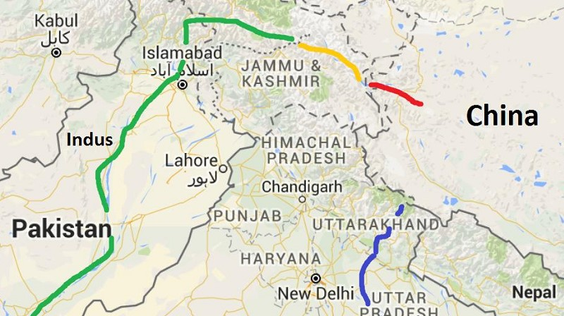 Indus River – red in China, yellow in India, green in Pakistan