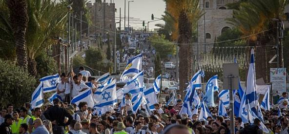 Thousands of young Jewish boys celebrate Jerusalem Day