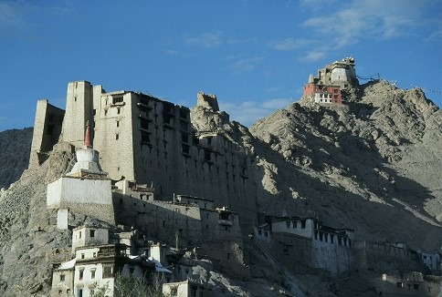 Leh Palace in foreground, Leh gompa above