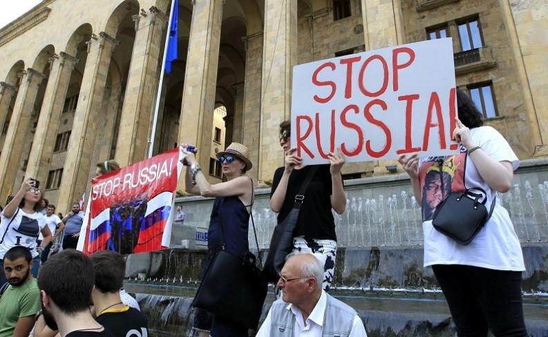 Anti-Russia protests in Tblisi, Georgia
