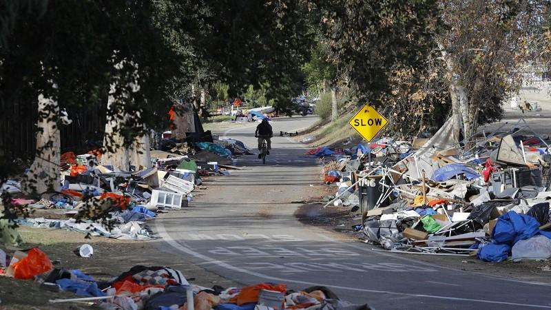 Homeless encampment on residential street in Orange County CA