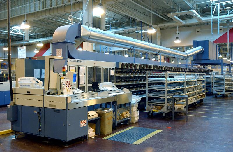 USPS mail sorting machine