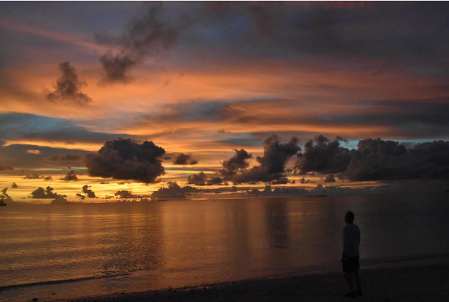 JW watching sunset, Funafuti, Tuvalu – photo by TTPer Kellie Ramsey