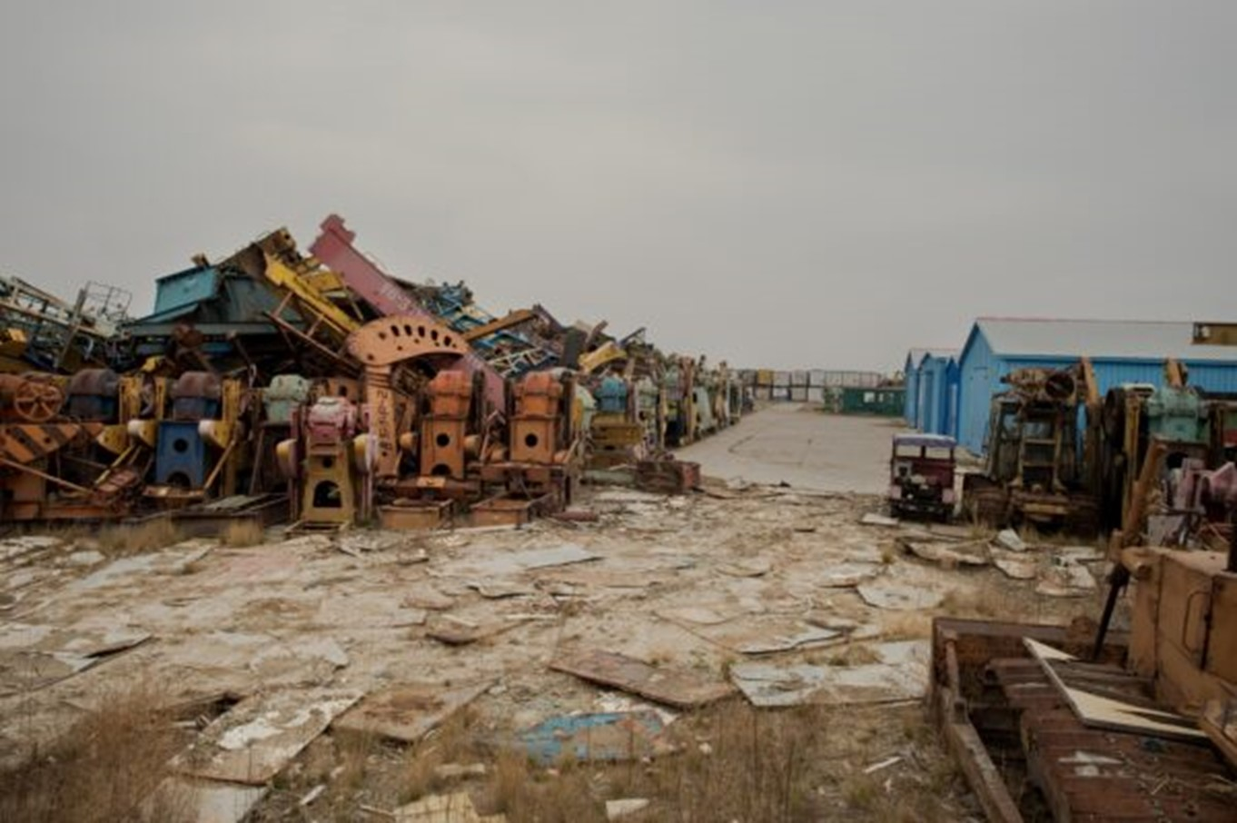 Rusted oil pump parts at a scrap yard in Daqing, Heilongjiang Province