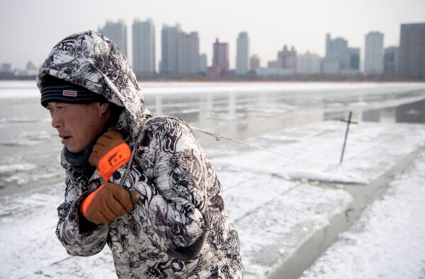 A worker dragging ice blocks on the Songhua river in Harbin, Heilongjiang