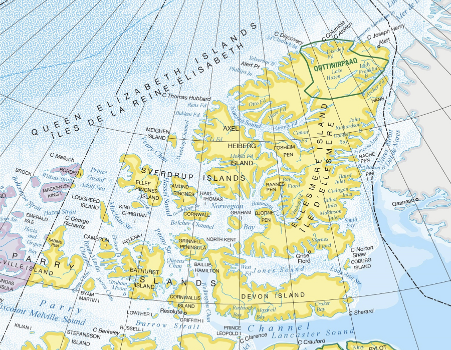 The Canadian High Arctic where Canada and Greenland come together Resolute on Cornwallis Island at bottom of map